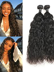 Недорогие -2 Связки Бразильские волосы Естественные волны человеческие волосы Remy Накладки из натуральных волос 8-26 дюймовый Нейтральный Ткет человеческих волос / 10A