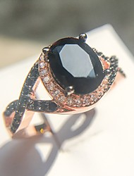 cheap -Women's Ring Onyx 1pc Rose Gold Copper Obsidian Rose Gold Plated Oval Four Prongs Ladies Punk Aristocrat Lolita Carnival Masquerade Jewelry Crossover Imagine Faith Cool / Imitation Diamond