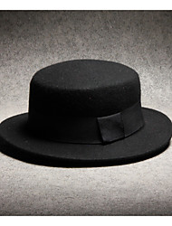 cheap -Men's Polyester Fedora Hat-Solid Colored Black