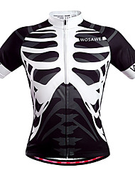 cheap -WOSAWE Men's Unisex Short Sleeve Cycling Jersey Black / White Skeleton Bike Jersey Top Breathable Quick Dry Back Pocket Sports Polyester Mountain Bike MTB Road Bike Cycling Clothing Apparel