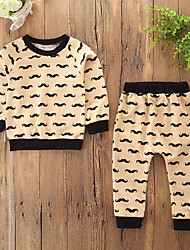 cheap -Baby Girls' Casual / Active Sports / Holiday Print / Halloween Print Long Sleeve Regular Clothing Set Beige / Toddler