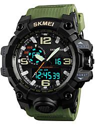 Недорогие -SKMEI Муж. Спортивные часы Армейские часы электронные часы Японский Кварцевый Стеганная ПУ кожа Черный / Зеленый / Серый 50 m Будильник Календарь Секундомер Аналого-цифровые Мода Цветной -
