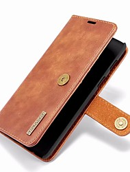 cheap -Case For OnePlus OnePlus 6 Wallet / Card Holder / with Stand Full Body Cases Solid Colored Hard Genuine Leather