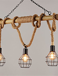 cheap -3-Head Metal Cage 80cm Vintage Hemp Rope  Bamboo Pendant Lights Loft Creative  Living Room Restaurant Clothing Store Lamp
