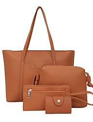 cheap -Women's Zipper PU Bag Set Bag Sets 4 Pieces Purse Set Black / Brown / Blushing Pink