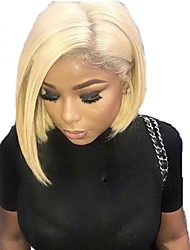 cheap -Human Hair Lace Front Wig Bob style Brazilian Hair Burmese Hair Straight Wig 130% Density with Baby Hair Women Easy dressing Best Quality Hot Sale Women's Short Human Hair Lace Wig