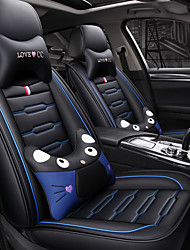 cheap -9sets Black blue Cartoon Four Seasons GM Car Seat Cover with 2 pillows and 2 waist pads for 5 seat car/PU leather/Airbag compatible/Adjustable and Removable/Family car/SUV