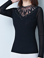 cheap -Women's Daily Basic Slim Blouse - Solid Colored Mesh / Lace Trims Black