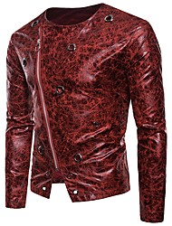 cheap -Men's Club / Party / Cocktail Basic / Sexy Winter / Fall & Winter Short Jacket, Leopard Collarless Long Sleeve PU Brown / Black / Red