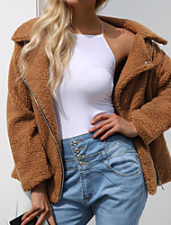 cheap -Women's Daily / Going out Street chic / Sophisticated Spring / Fall & Winter Plus Size Regular Jacket, Solid Colored Turndown Long Sleeve Lamb Fur Black / Blushing Pink / Camel