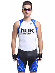 cheap -Nuckily Men's Short Sleeve Triathlon Tri Suit Blue Stripes Bike Breathable Anatomic Design Ultraviolet Resistant Sports Polyester Spandex Stripes Triathlon Clothing Apparel / Stretchy / Advanced