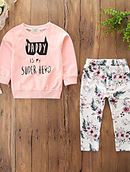 cheap -Baby Girls' Casual / Active Daily / Holiday Floral / Print Print Long Sleeve Regular Clothing Set Blushing Pink / Toddler