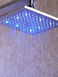 cheap -8 Inch Bathroom Shower Head / Brass / Chrome / Rainfall / Contemporary / With Temperature Sensitive 3 LED Colors