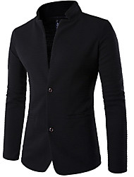 cheap -Men's Work Fall / Winter Plus Size Regular Blazer, Solid Colored / Color Block Stand Long Sleeve Polyester Black / Business Casual