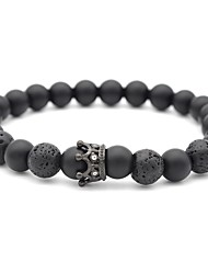 cheap -Men's Black Matte White Turquoise Bead Bracelet Beads Frosted Ball Creative Chakra Trendy Fashion equilibrio Lava Stone Bracelet Jewelry White / Black For Daily Going out