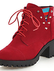 cheap -Women's Boots Bootie Block Heel Round Toe Rivet Suede Booties / Ankle Boots Fall & Winter Brown / Red / Green