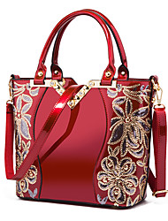 cheap -Women's PU Tote Leather Bags Embroidery Wine / Black / Blue