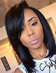 cheap -Virgin Human Hair Unprocessed Human Hair Lace Front Wig Bob Short Bob Side Part style Brazilian Hair Straight Black Wig 130% Density with Baby Hair Natural Hairline Unprocessed Women's 8-14 Human