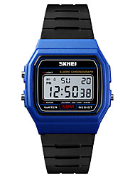 cheap -SKMEI Men's Sport Watch Military Watch Digital Watch Digital Casual Alarm Digital Black / Gold Golden Blue / One Year / Quilted PU Leather / Calendar / date / day / Chronograph / Stopwatch