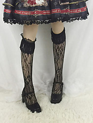 cheap -Women's Adults' Stylish Vintage Socks / Long Stockings Black White Solid Colored Lace Lace Lolita Accessories