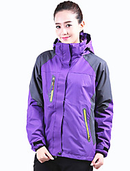 cheap -Women's Hoodie Jacket Hiking Jacket Winter Outdoor Thermal / Warm Waterproof Windproof Breathable Jacket 3-in-1 Jacket Top Single Slider Camping / Hiking Climbing Outdoor Exercise Black / Purple