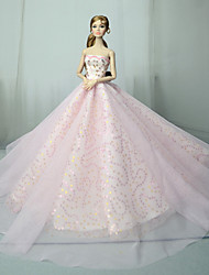 cheap -Doll accessories Doll Clothes Doll Dress Wedding Dress Solid Color Wedding Ball Gown Lace Tulle Lace For 11.5 Inch Doll Handmade Toy for Girl's Birthday Gifts  Doll Not Included / Kids