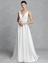 cheap -A-Line V Neck Court Train Satin Regular Straps Beautiful Back Made-To-Measure Wedding Dresses with Crystal Brooch 2020
