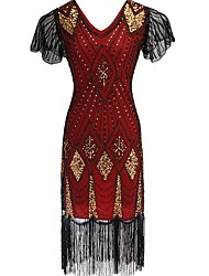 cheap -The Great Gatsby Charleston Vintage 1920s Roaring Twenties Flapper Dress Women's Sequins Costume Black / Red / black / Golden Vintage Cosplay Party Prom Short Sleeve Knee Length