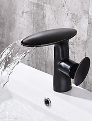 cheap -Bathroom Sink Faucet - Waterfall Black Centerset Single Handle One HoleBath Taps