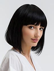 cheap -Human Hair Capless Wigs Human Hair Straight Bob / Short Hairstyles 2019 Natural Hairline Black Capless Wig Women's Daily Wear