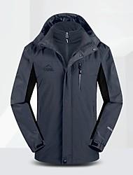 cheap -Men's Hiking 3-in-1 Jackets Hiking Jacket Winter Outdoor Waterproof Windproof Breathable Warm Jacket 3-in-1 Jacket Fleece Full Length Visible Zipper Camping / Hiking Ski / Snowboard Climbing Black