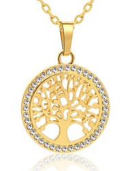 cheap -Men's Pendant Necklace Hollow Out life Tree Geometric Unique Design Rhinestone Gold Plated Alloy Gold Silver 55 cm Necklace Jewelry 1pc For Daily Street