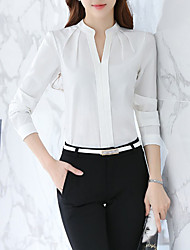 cheap -Women's Daily Work Business / Basic Slim Blouse / Shirt - Solid Colored Pleated V Neck White