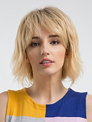 cheap -Human Hair Capless Wigs Human Hair Curly Bob / Short Hairstyles 2019 Ombre Hair / Natural Hairline Black / Blonde Capless Wig Women's Daily Wear