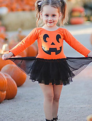 cheap -Baby Girls' Vintage / Active Party / Holiday Print / Halloween Mesh / Print Long Sleeve Above Knee Dress Orange / Toddler