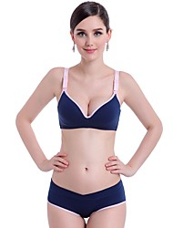 cheap -Women's Backless Push-up Wireless 3/4 Cup Bras & Panties Sets Solid Colored Maternity Cotton Daily Purple Blushing Pink Yellow