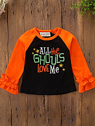 cheap -Baby Girls' Vintage / Active Daily / Holiday Print / Halloween Long Sleeve Regular Tee Black / Toddler