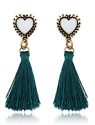 cheap -Women's Drop Earrings Tassel Heart Ladies Tassel European Sweet Earrings Jewelry Gray / Green For Party Daily 1 Pair