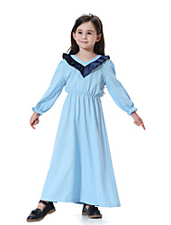 cheap -Kids Girls' Boho Daily Color Block Long Sleeve Maxi Dress Black