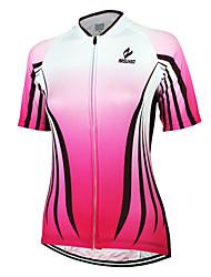 Недорогие -Arsuxeo Жен. С короткими рукавами Велокофты Розовый В полоску Велоспорт Джерси Верхняя часть Горные велосипеды Шоссейные велосипеды Дышащий Быстровысыхающий Анатомический дизайн Виды спорта Одежда