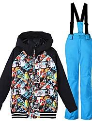 cheap -GSOU SNOW Boys' Ski Jacket with Pants Ski / Snowboard Winter Sports Waterproof Windproof Warm POLY Clothing Suit Ski Wear / Kid's