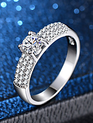 cheap -Women's Ring Micro Pave Ring 1pc Silver Copper Platinum Plated Imitation Diamond Four Prongs Ladies Classic Romantic Wedding Engagement Jewelry Classic Halo Love Lovely