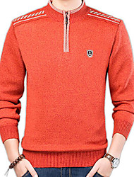 cheap -Men's Daily Basic Solid Colored Long Sleeve Slim Regular Pullover Sweater Jumper, Round Neck Orange / Blue / Brown M / L / XL