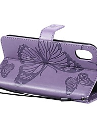 cheap -Case For Apple iPhone XS / iPhone XR / iPhone XS Max Wallet / Card Holder / with Stand Full Body Cases Butterfly Hard PU Leather