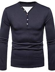 abordables -Tee-shirt Homme, Couleur Pleine Col en V Gris Foncé / Manches Longues