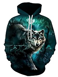 cheap -Men's Plus Size Hoodie Wolf 3D Print Hooded Sports - Long Sleeve Loose Green S M L XL XXL XXXL XXXXL XXXXXL XXXXXXL / Fall / Winter