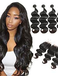 Недорогие -4 комплекта с закрытием Малазийские волосы Естественные кудри человеческие волосы Remy 250 g Накладки из натуральных волос Волосы Уток с закрытием 8-26 дюймовый Нейтральный Ткет человеческих волос