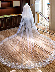cheap -Two-tier Flower Style / Lace Applique Edge Wedding Veil Cathedral Veils with Ruffles / Appliques Lace / Tulle / Mantilla