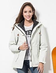 cheap -DZRZVD® Women's Hiking Down Jacket Hiking 3-in-1 Jackets Winter Outdoor Solid Colored Windproof Rain Waterproof Breathability Wearable Winter Jacket Duckdown Single Slider Camping / Hiking Ski