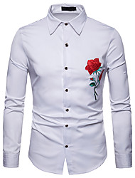 cheap -Men's Daily Work Business / Basic Slim Shirt - Solid Colored / Floral / Color Block Embroidered White / Long Sleeve